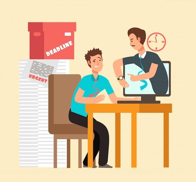Hombre frustrado adicto al trabajo con la computadora portátil y el jefe enojado.