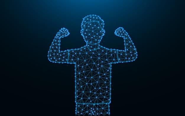 Hombre fuerte hecho de puntos y líneas sobre fondo azul oscuro, el hombre muestra malla de malla de bíceps poligonal