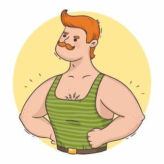 Hombre fuerte pelirrojo de dibujos animados con músculos y bigote