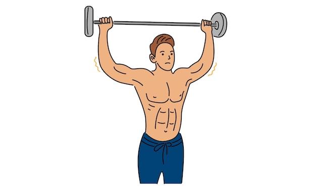 Hombre fuerte sosteniendo una mancuerna en la mano dibujada