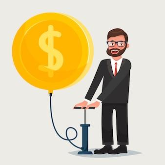 Hombre con gafas con barba soplando un globo