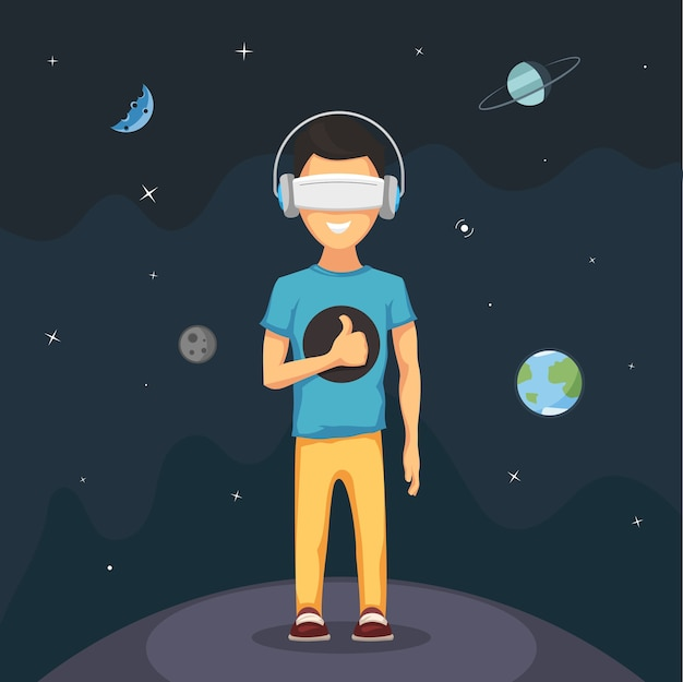 Hombre con gafas de casco de realidad virtual.