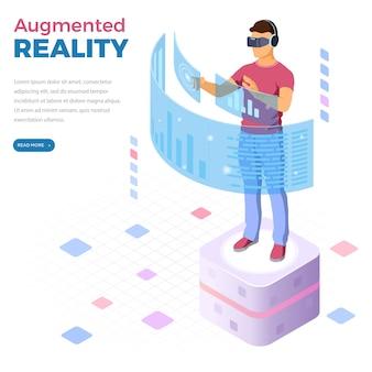 Hombre con gafas de realidad virtual con banner web de realidad aumentada