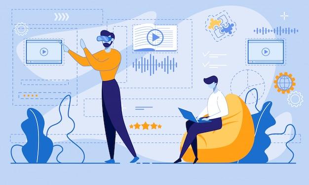 Hombre con gafas de realidad virtual ingrese a la cuenta en línea para estudiar