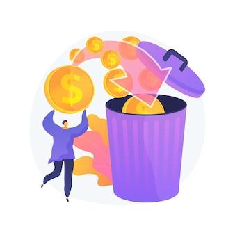 Hombre gastando demasiado, tirando monedas en el cubo de basura. desperdicio de dinero, inversión no rentable, mala gestión de las finanzas. quiebra financiera, tipo perdiendo ahorros.