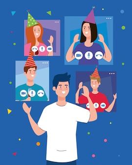Hombre y gente con sombreros de fiesta en pantallas