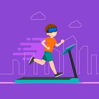 Hombre de gimnasio virtual corriendo