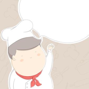 Hombre gordo chef en el patrón de accesorios de cocina