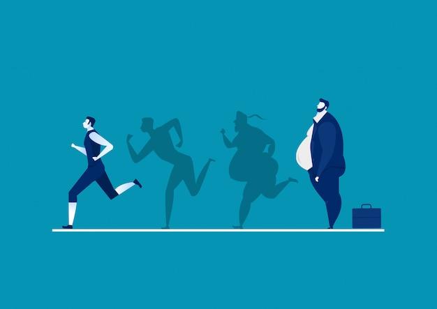 Hombre gordo convirtiéndose en silueta delgada para la salud sobre fondo azul gráfico