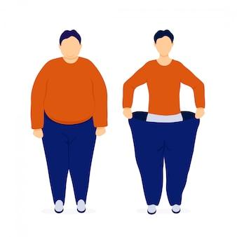 Hombre gordo y delgado antes y después de la pérdida de peso