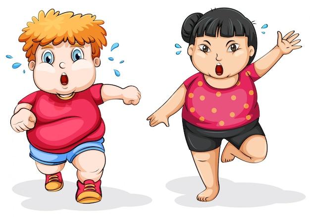Hombre gordo y mujer ejercicio