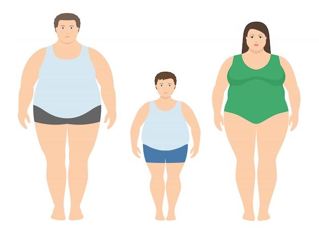 Hombre gordo, mujer y niño en estilo plano.