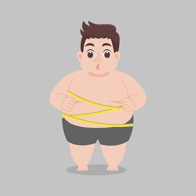 Hombre gordo con pantalones cortos, cinta métrica