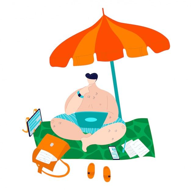 Hombre gordo positivo del cuerpo en trajes de baño en la playa bajo la sombrilla que trabaja en la computadora portátil, además de ilustración plana hombre caucásico de tamaño.