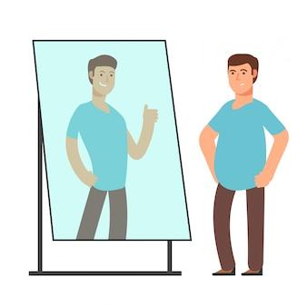 Hombre gordo que mira en la reflexión fuerte y delgada de la persona en espejo. objetivos de fitness vector concepto