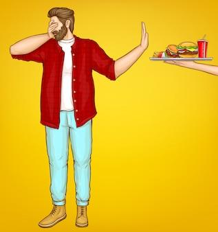 Hombre gordo rechazando dibujos animados de comida rápida