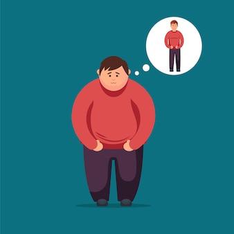 El hombre gordo sueña con perder peso.