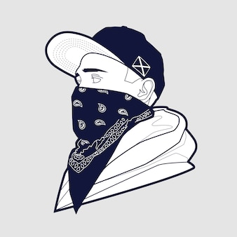 Hombre con gorra y bandana art