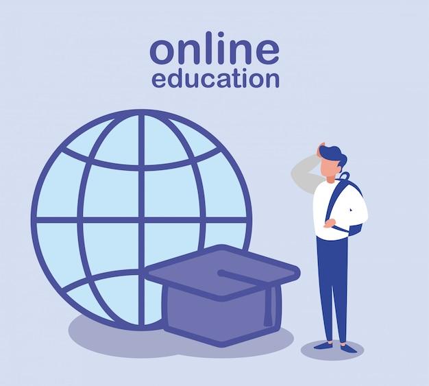 Hombre con gorro de graduación y esfera global, educación en línea