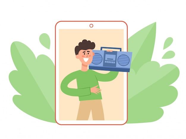 Hombre con grabadora escuchando música en autoaislamiento.