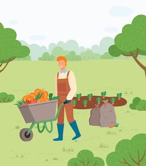 Hombre del granjero con la cosecha de otoño en el vector de carro