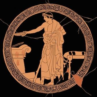 Un hombre griego antiguo celebra un ritual de sacrificio cerca de un altar de piedra con una copa en la mano.