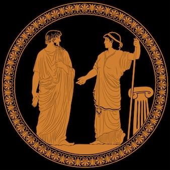 Hombre griego antiguo y mujer.