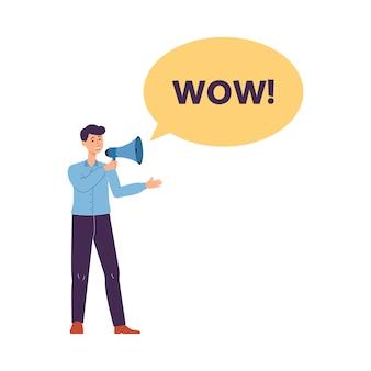 Hombre gritando en el altavoz - wow bocadillo, ilustración vectorial plana aislado.