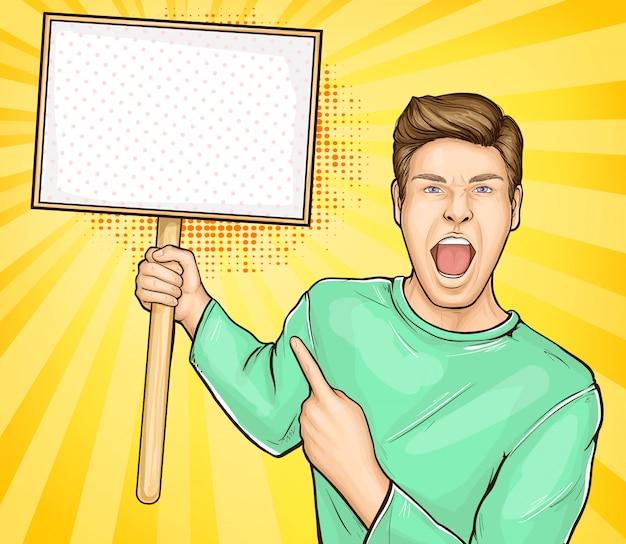 Hombre gritando con cartel en blanco en vector de palo