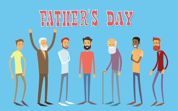 Hombre grupo generación feliz día del padre banner de vacaciones