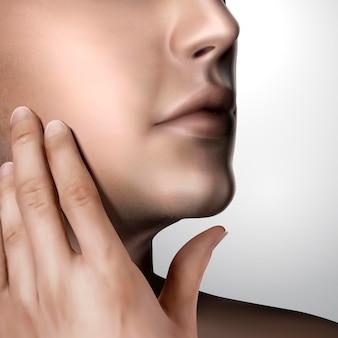 Hombre guapo acaricia su propia cara en la ilustración 3d, concepto de cuidado de la piel