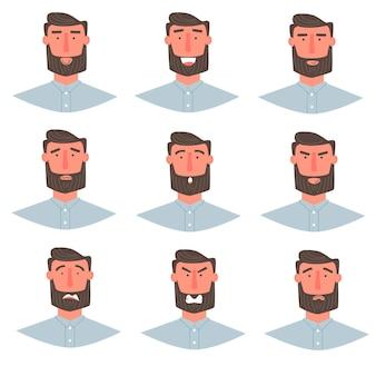 Hombre guapo con retrato de barba con diferentes expresiones faciales conjunto aislado sobre fondo blanco. chico joven sonriendo, feliz, miedo, enojado, saludando a las emociones frente al carácter vectorial.