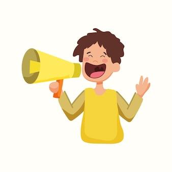 El hombre habla por un megáfono. ilustración de vector de estilo plano