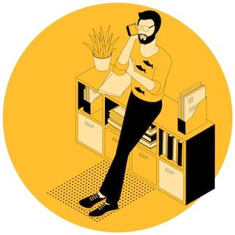 El hombre está hablando en la ilustración del teléfono.