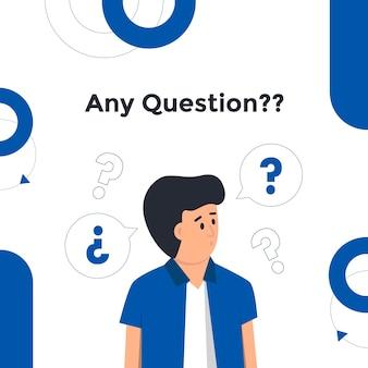 El hombre hace una pregunta ilustración