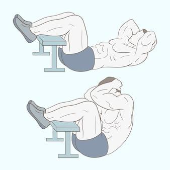Hombre haciendo abdominales en el gimnasio.