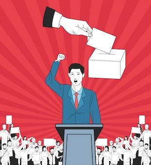 Hombre haciendo un discurso y audiencia con letrero y votando.