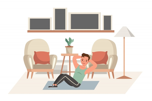 Hombre haciendo ejercicio en casa personaje. concepto de estilo de vida saludable y bienestar.