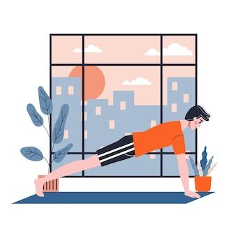 Hombre haciendo ejercicio para la construcción de músculos de brazos y pecho. entrenamiento deportivo. ilustración en estilo de dibujos animados