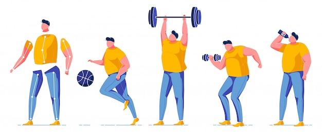 Hombre haciendo ejercicio en el gimnasio constructor para animación.