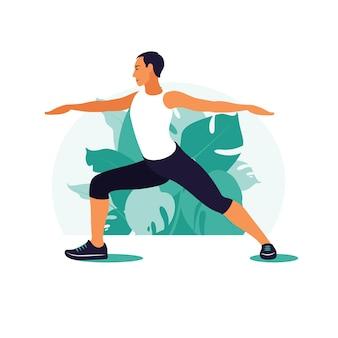 Hombre haciendo ejercicio en el parque. deportes al aire libre. concepto de fitness y estilo de vida saludable. ilustración en estilo plano.