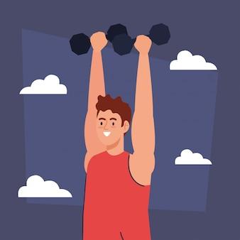 Hombre haciendo ejercicios con pesas al aire libre, recreación deportiva