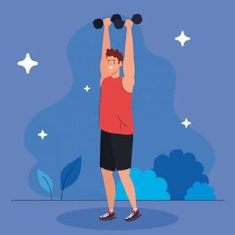 Hombre haciendo ejercicios con pesas al aire libre, recreación de ejercicio deportivo
