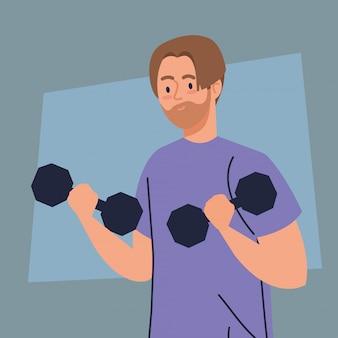 Hombre haciendo ejercicios con pesas, concepto de recreación deportiva