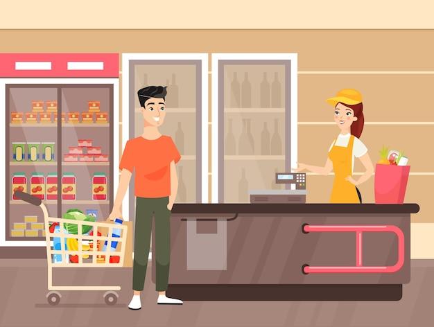 Hombre haciendo ilustración de compras de comestibles cajera trabajando en supermercado