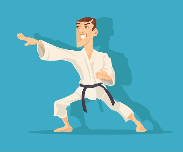 Hombre haciendo karate ilustración de dibujos animados plana