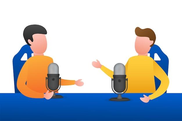 Un hombre está haciendo podcasts en vivo en su computadora portátil. transmisión en vivo, transmisión plana. ilustración vectorial de stock