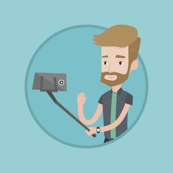 Hombre haciendo selfie ilustración vectorial.