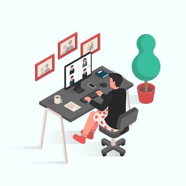 Hombre haciendo videoconferencia durante el trabajo desde casa y cuarentena en diseño isométrico
