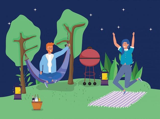 Hombre en hamaca saltando mujer camping picnic